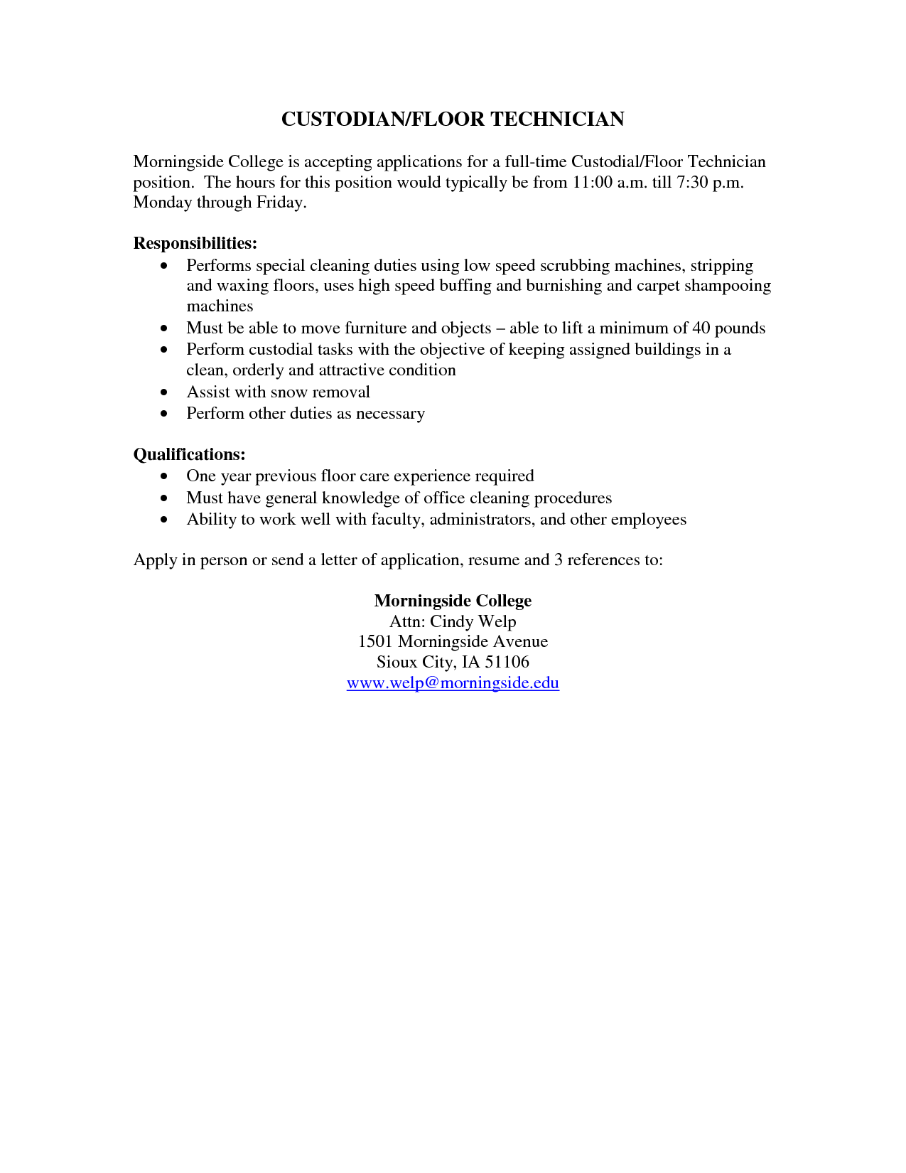cleaner resume example
