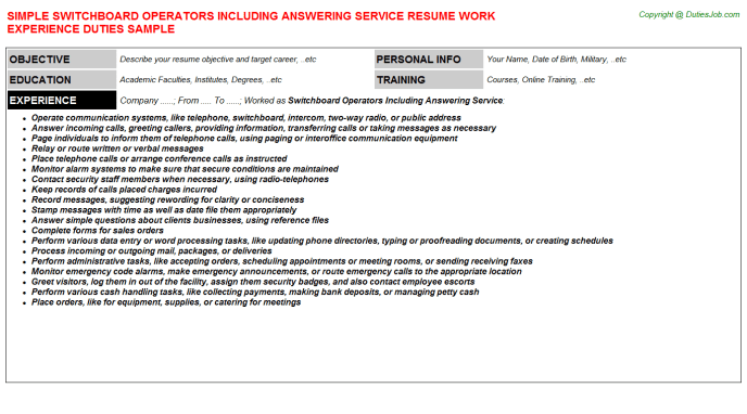 sample resume for answering service operator