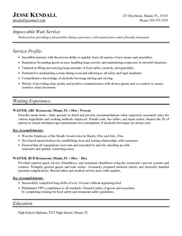 restaurant waitress resume samples - Eczasolinf - Examples Of Waitress Resumes