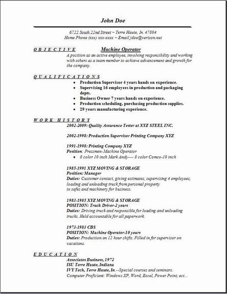 machine operator objective for resume - Maggilocustdesign