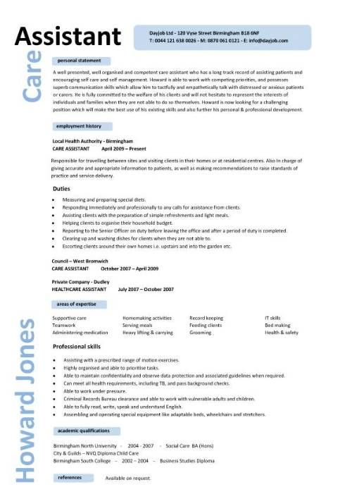 job description caregiver resume