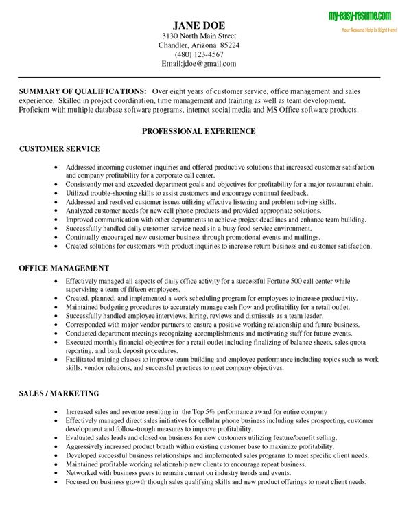 Great Resume Examples For Customer Service - Examples Of Resumes