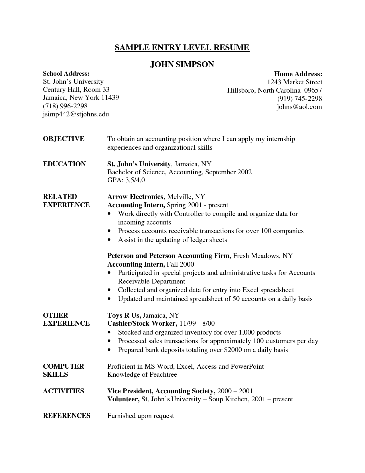 resume sample for accounting students with no experience
