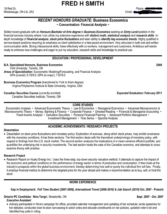 finance student resume example