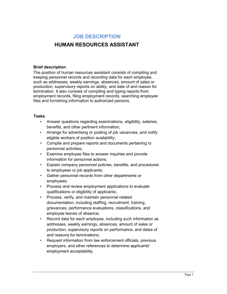 human resource assistant job description
