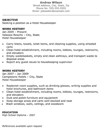 Hotel Housekeeper Resume objective work history - housekeeping resume