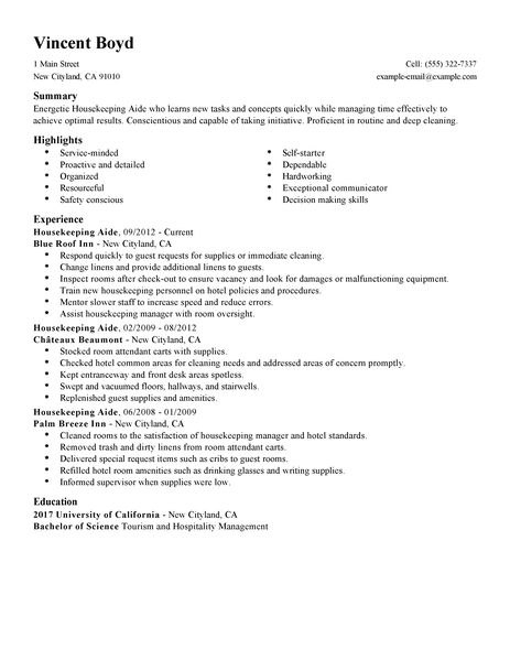 Housekeeping Resume housekeeping resume sample - Resume For Housekeeping