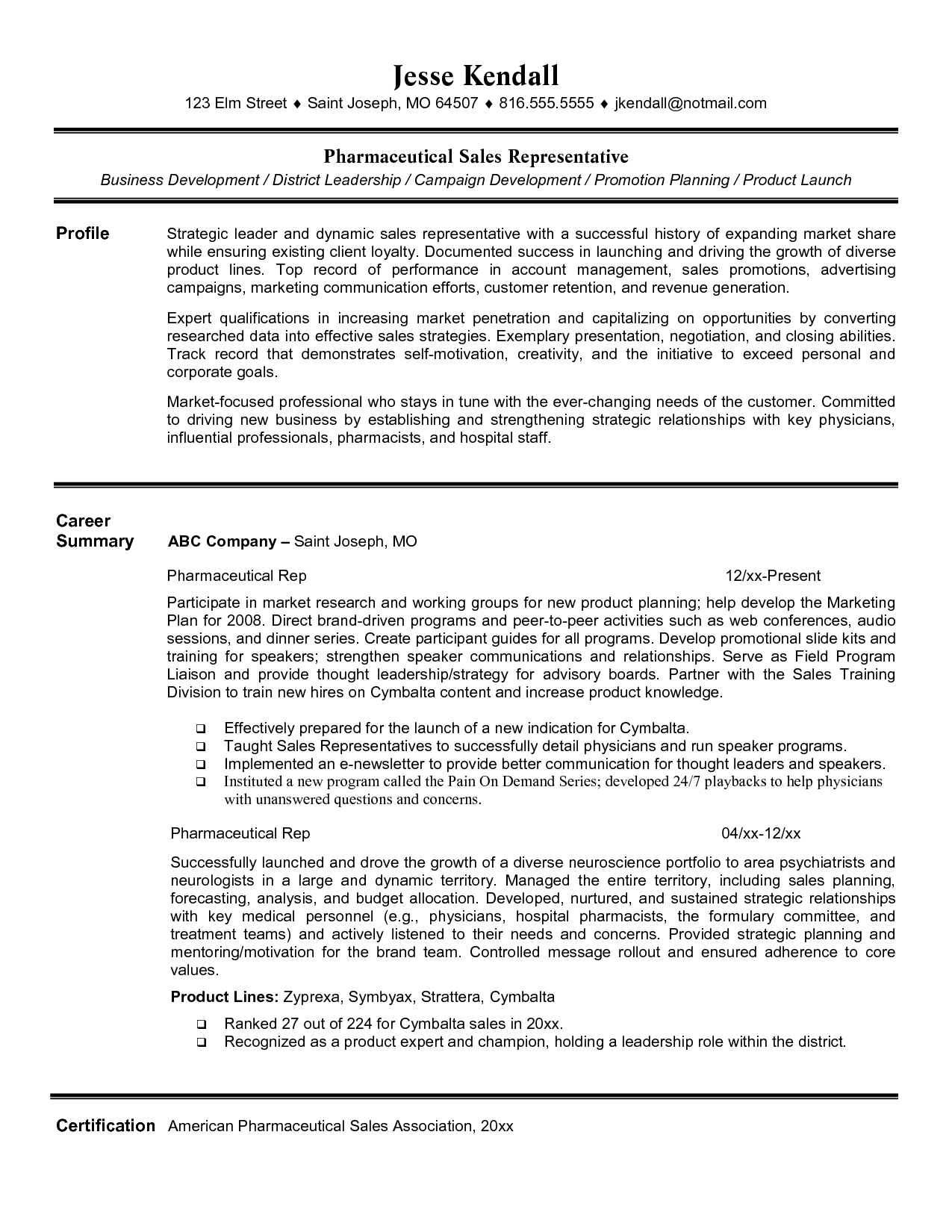 pharmaceutical sales rep resume summary examples