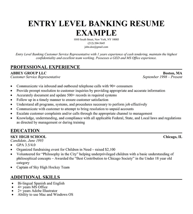 Resume Entry Level Banking customer service representative - Sample Resume For Entry Level
