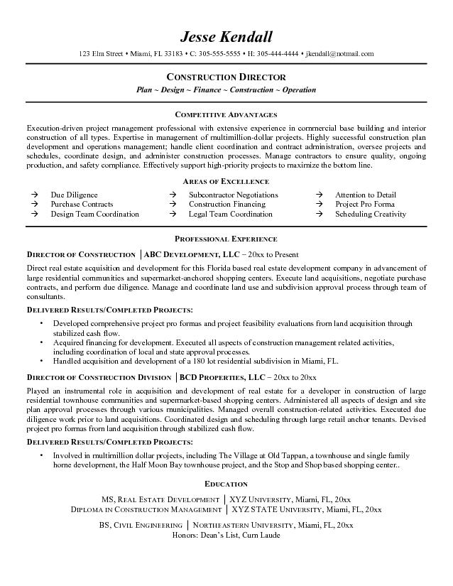 construction executive resume samples - Onwebioinnovate - construction executive resume samples
