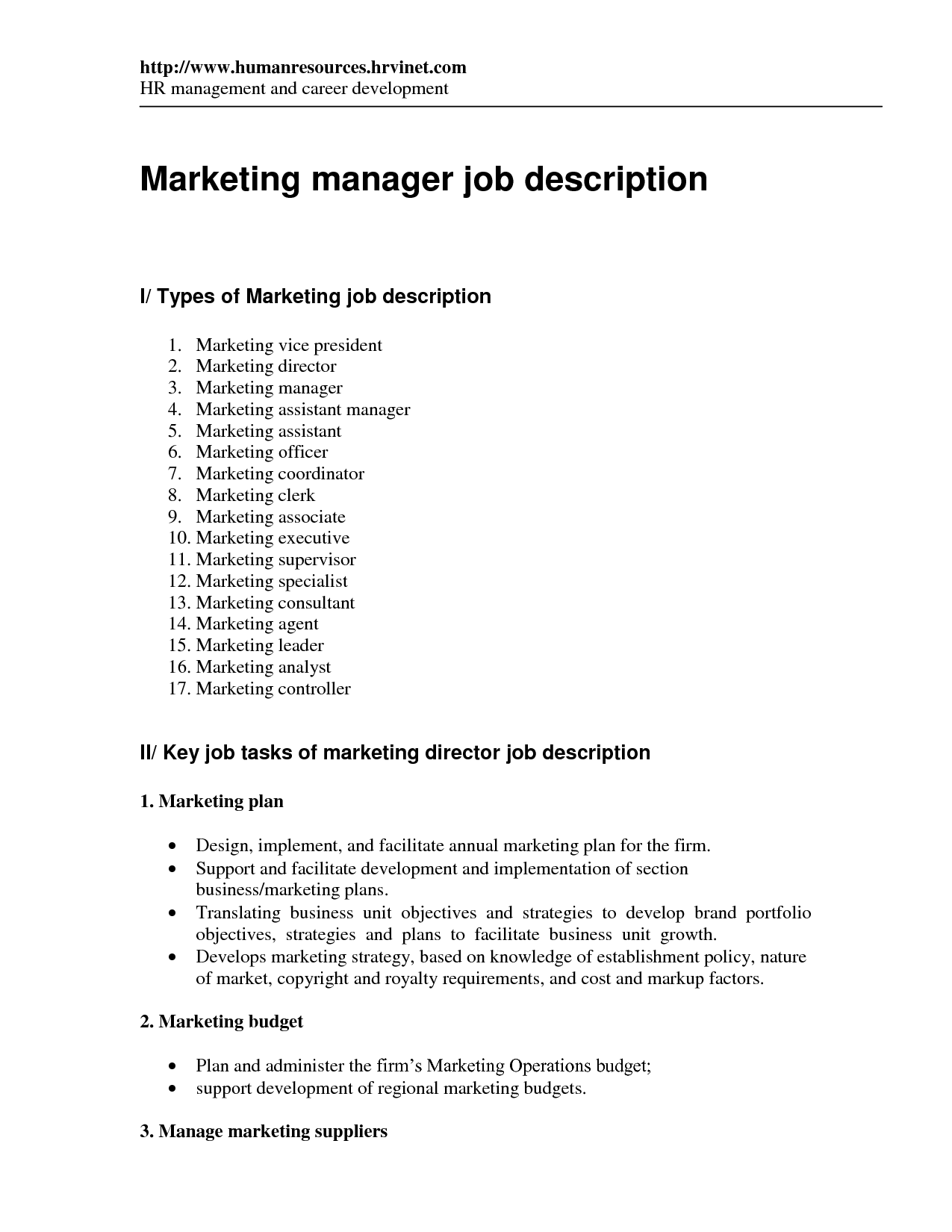 Marketing director cover letter sample – Executive Director Job Description