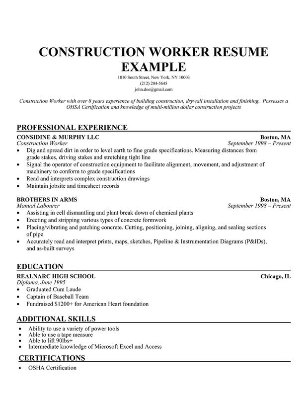 construction resume sample - Onwebioinnovate