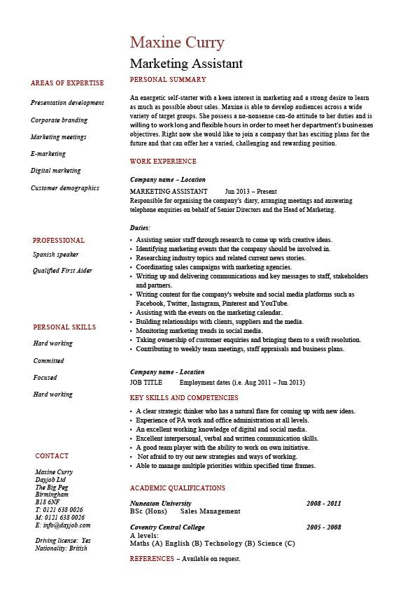 marketing assistant resume personal summary \ personal skills - personal skills resume