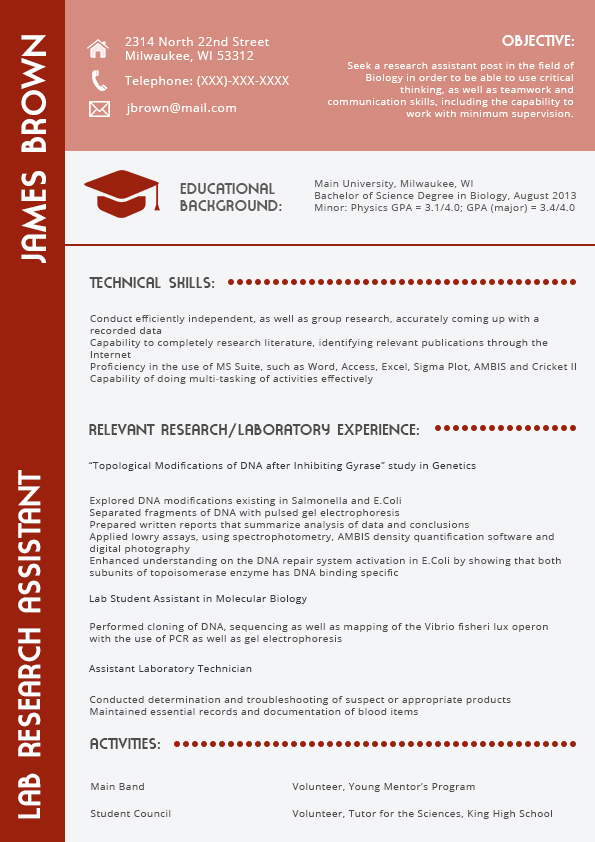 red best resume format 2016 lab research assistant technical skills