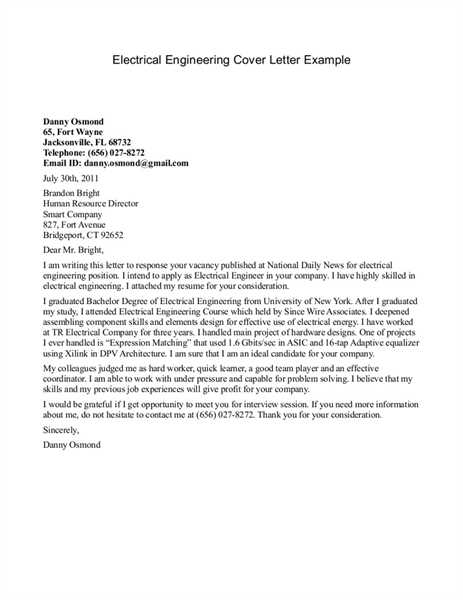 Electrical Engineering Cover Letter Examples in ucwords - electrical engineer cover letter