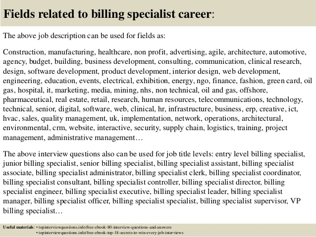 Medical billing and Coding specialist Resume Sample - Billing Specialist Resume