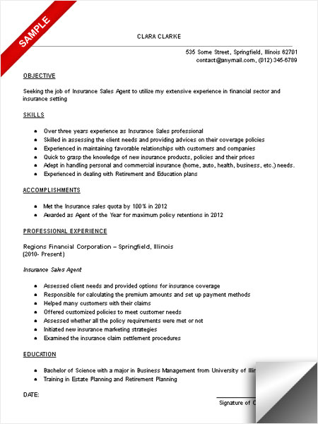 insurance resume sample - Towerssconstruction