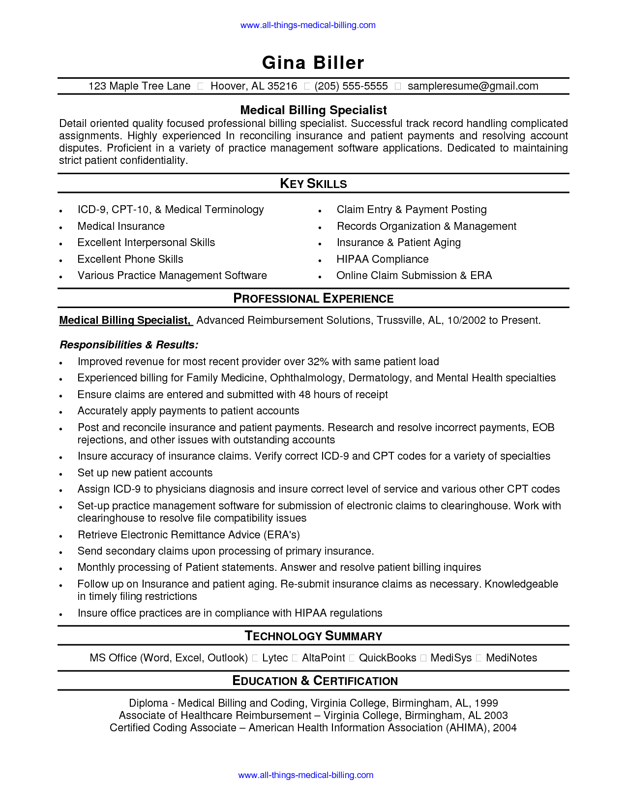 resume examples for health insurance specialist