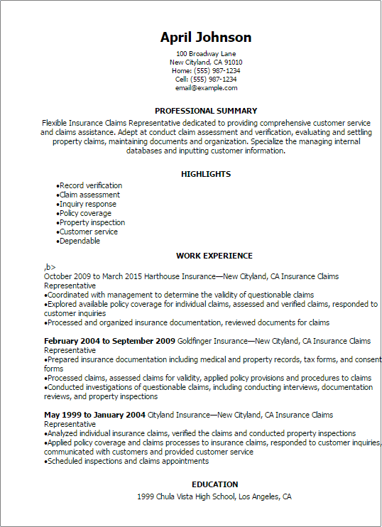 resume examples for insurance representative