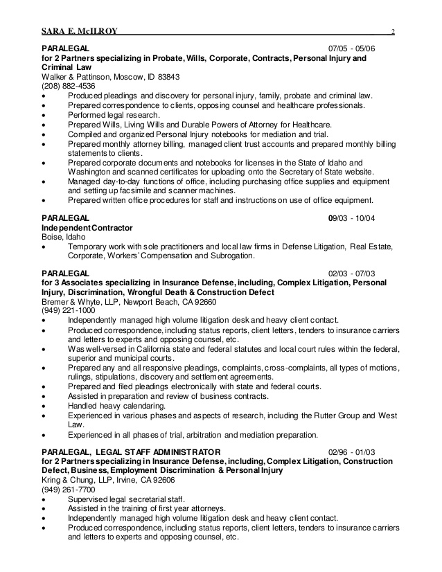 Personal Injury Assistant Sample Resume