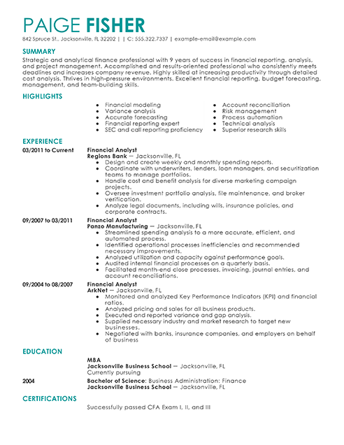 Sample Accounting Resume And Tips Create Resume Best Financial Analyst Resume Example