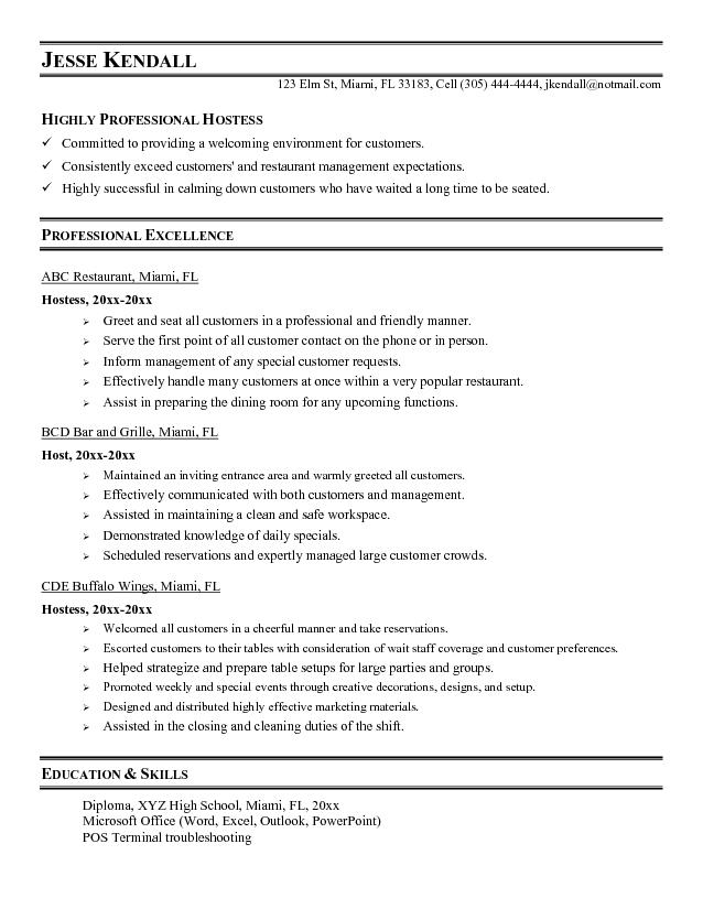 restaurant host resumes