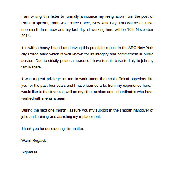 Example Simple Resignation Letter - SampleBusinessResume