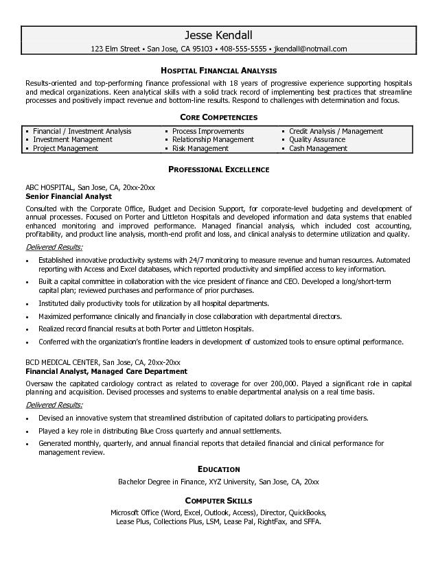 Financial Analyst Resume Sample financial analyst resumes Financial - Sample Resume Financial Analyst
