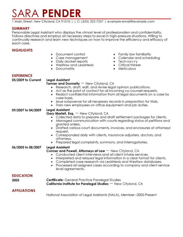 Personal Injury Paralegal Guide Resume Template Entry Level
