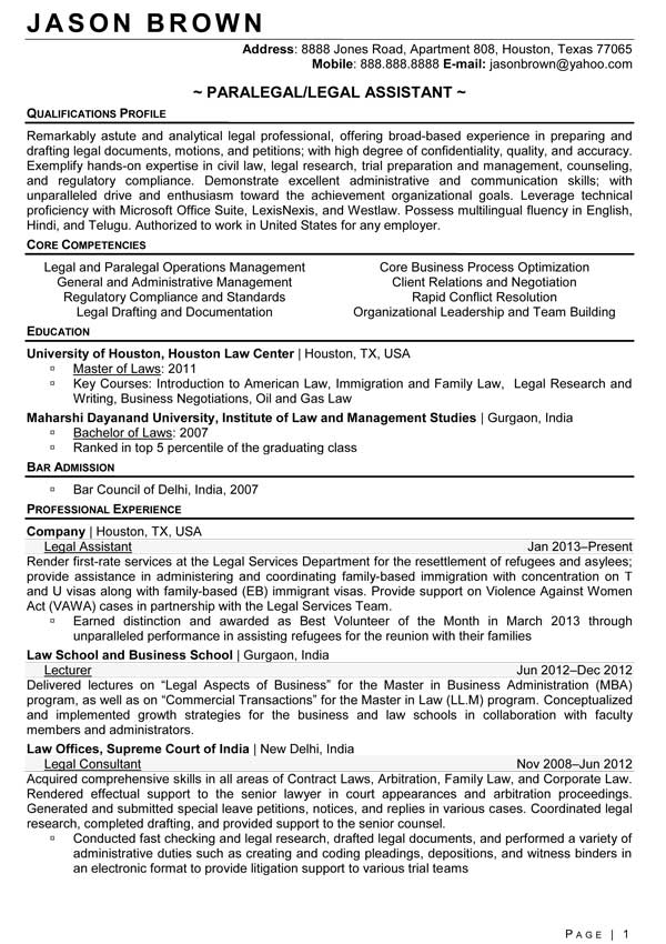Personal Injury Paralegal Resume Sample qualifications profile - paralegal resume