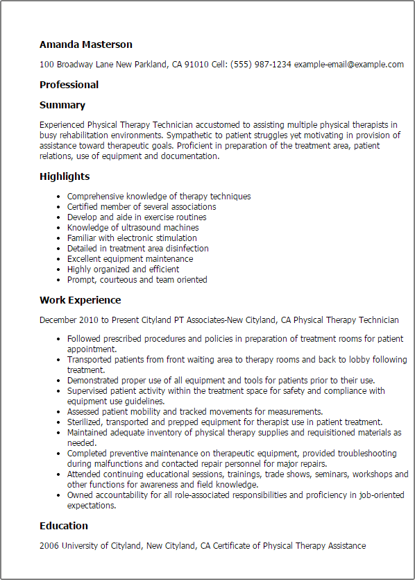 resume job description physical therapy assistant