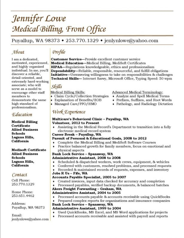 resume template sample resume for medical biller and coder