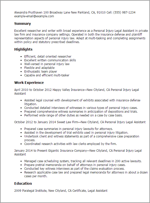 personal assistant resume no experience