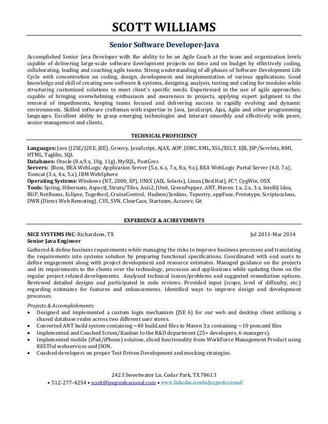 Sample Resume Experience senior Software Engineer - software engineer sample resume