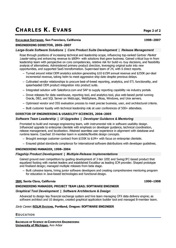 Senior Software Engineer Sample resume - SampleBusinessResume
