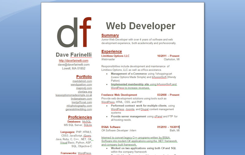 Web Developer Resume Example summary experience - Web Development Resume