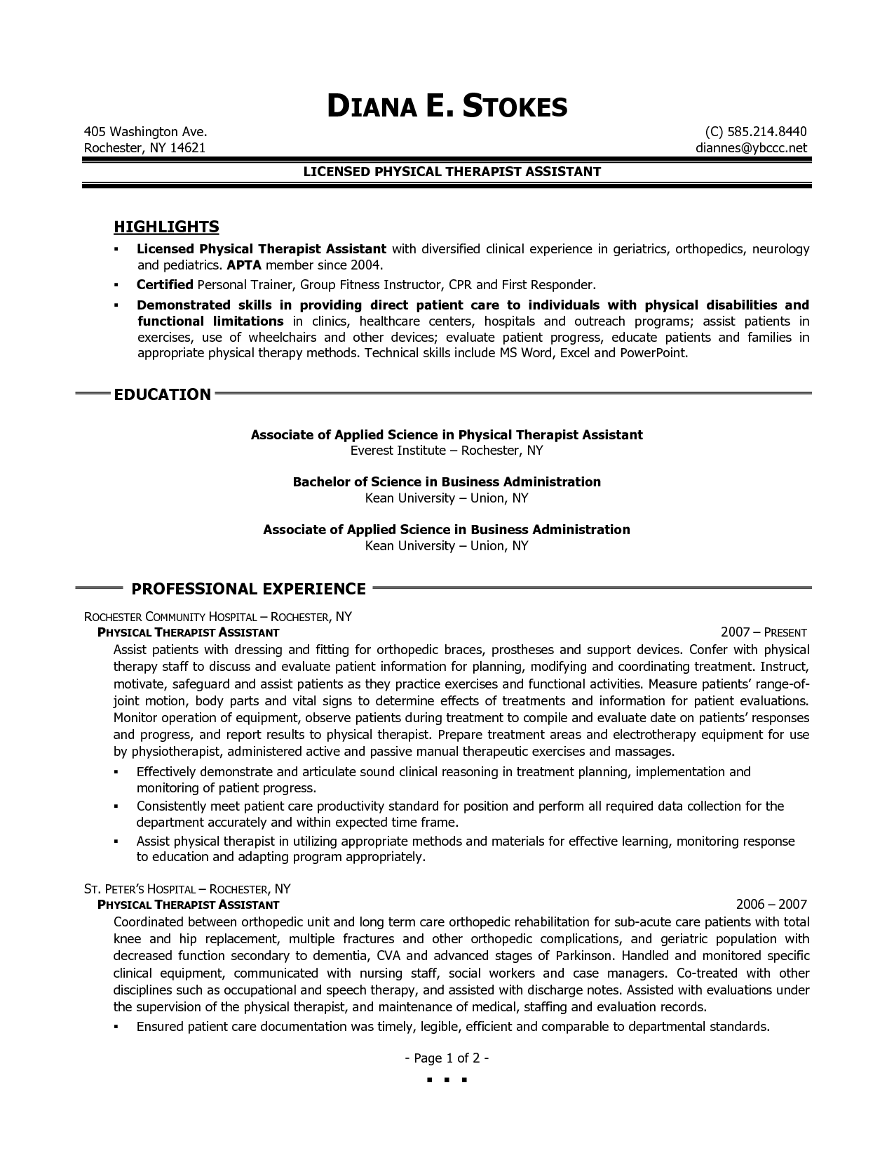 sample resume for therapists