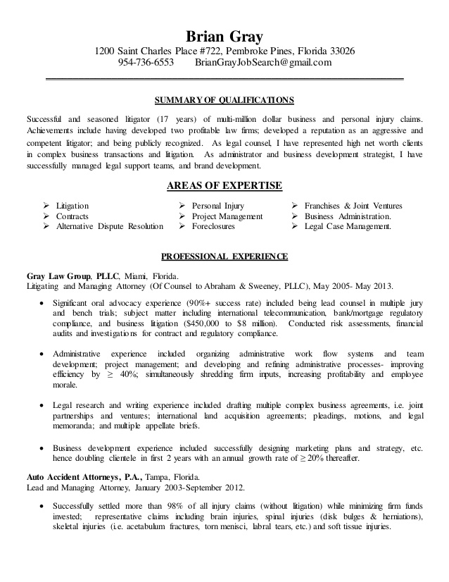legal resume summary examples