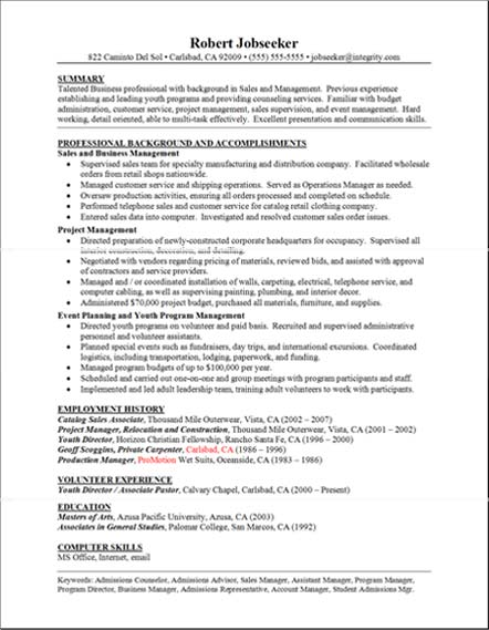 good resume examples professional background and accomplishments