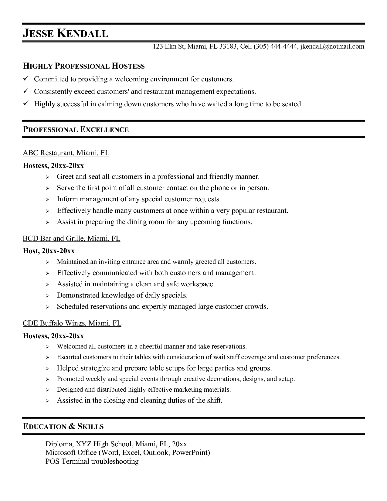 Resume Vip Host Resume vip hostess cover letter progress reporting template radio host resume sample restaurant job description highly professional hostess
