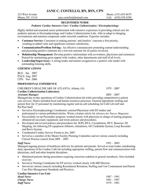 nurse resume examples without experience