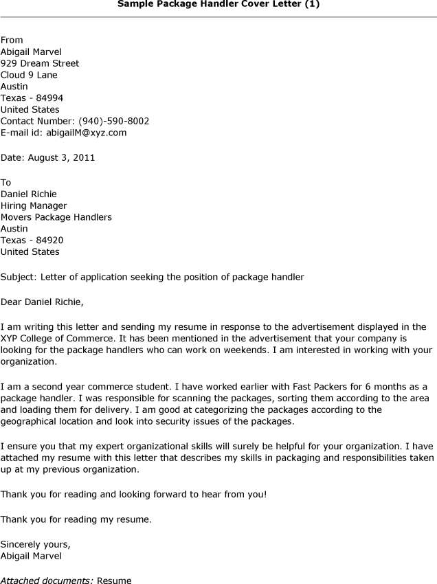 ... Package Handler Job Description Resume   SampleBusinessResume   Fedex  Material Handler Cover Letter ...