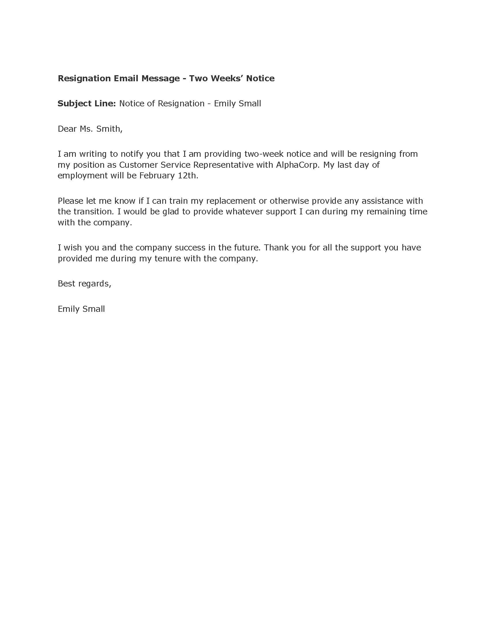 two weeks notice sample letter