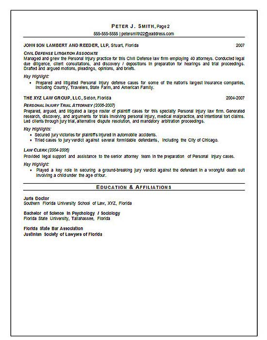 Court Trial Attorney Resume Example education and affiliations