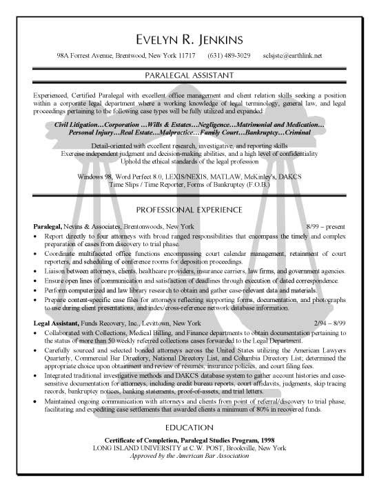 paralegal resume example professional experience - litigation paralegal resume