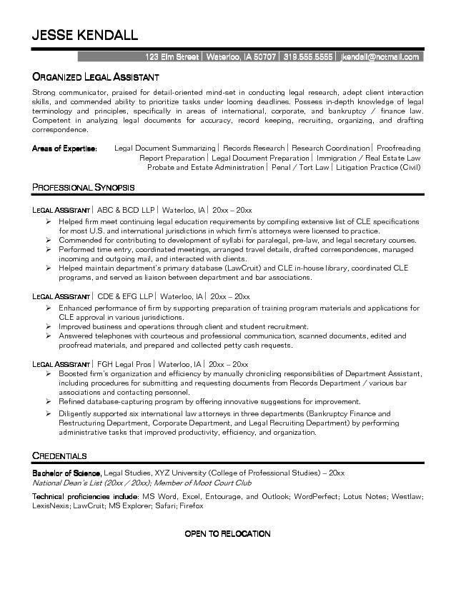 resume template legal secretary executive secretary sample resume - sample legal assistant resume