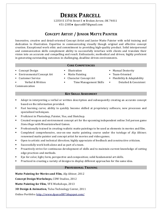 painter resume samples concept artist junior matte painter - Painter Resume