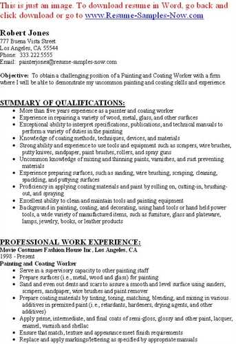 painter resumes sample resume professional work experience - Spray Painter Sample Resume