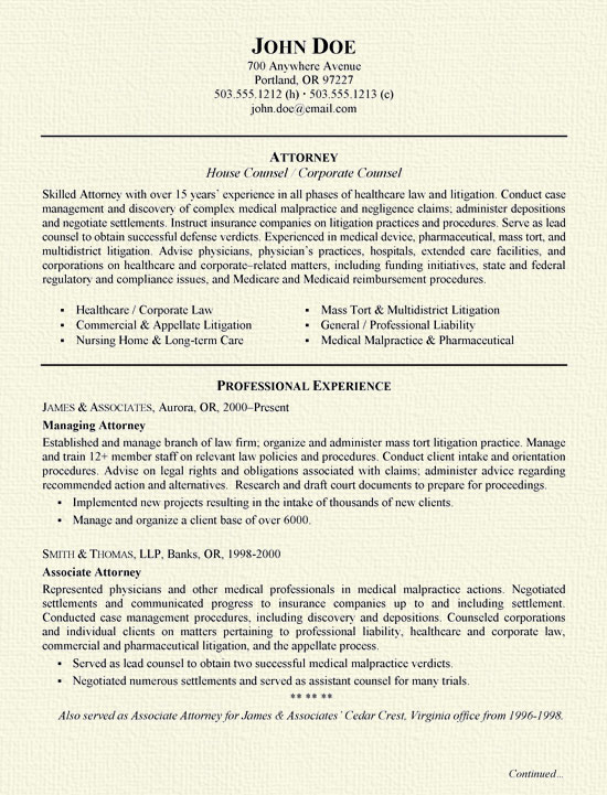securities attorney resume sample