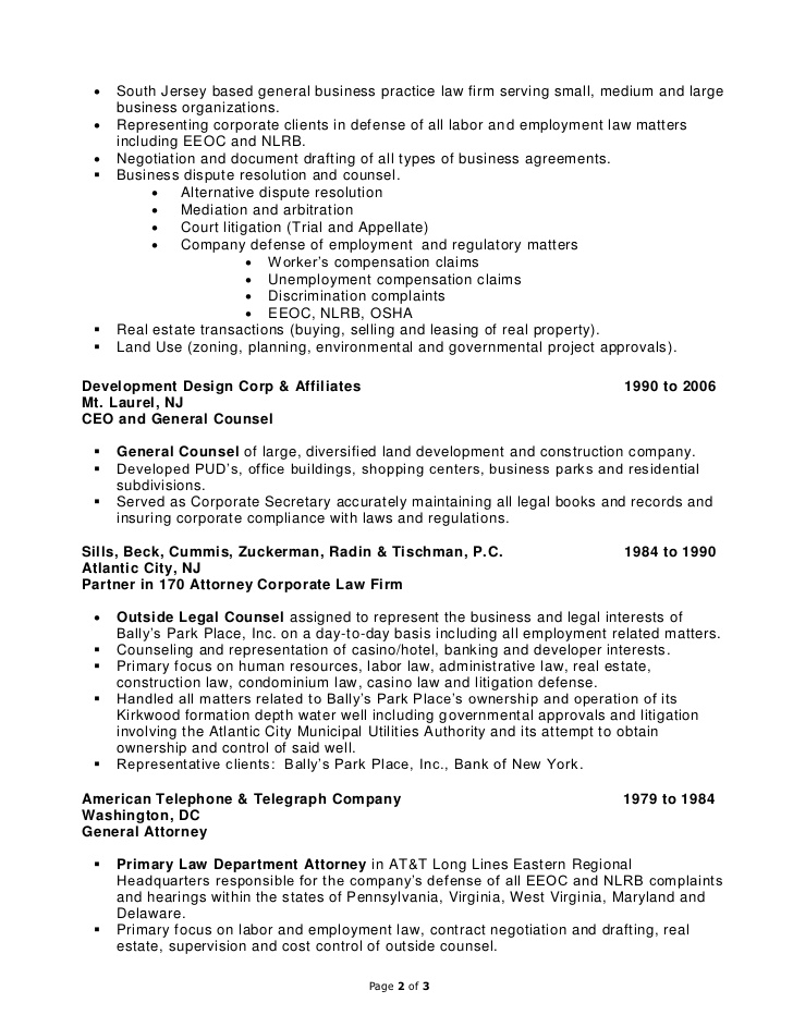 In House Counsel Resume Examples - Examples of Resumes